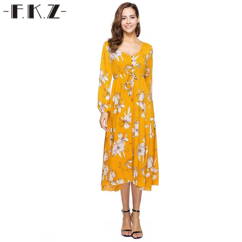 Фкз элегантный Платья для женщин линии Стиль длинные Женское платье Желтый Печатных Высокая талия длинный рукав глубокий v-образным вырезо...