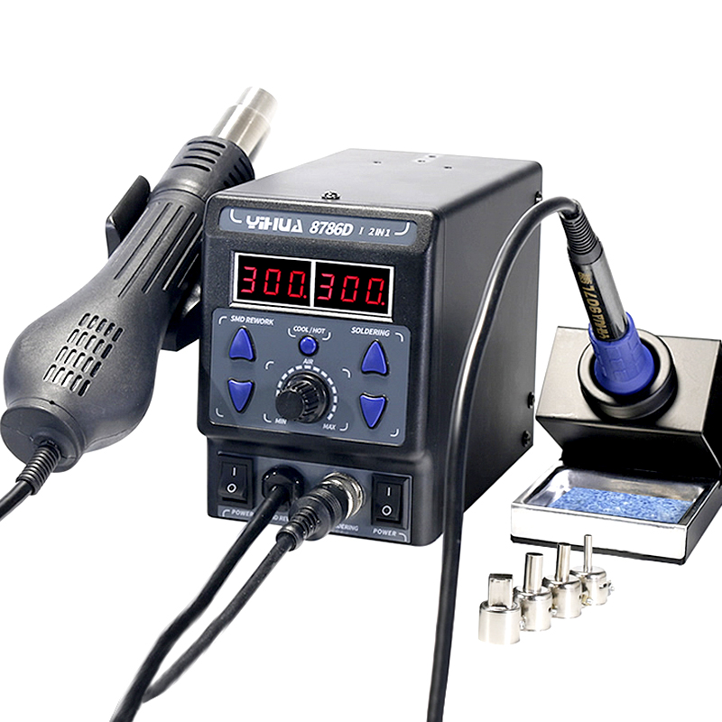 YIHUA 8786D-I New Upgrade Soldering Station Hot Air Gun Electric Soldering Iron 2IN1 Constant Temperature Digital Display Adjust