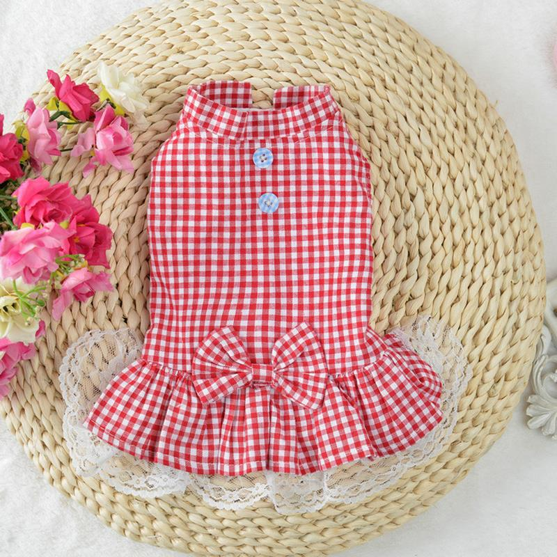Pet Cat Clothes Small Medium Pet Cats Dogs Skirts Spring And Summer 4 Color XS-L Pet Supplies For Cute Lattice Lace Cat Dress
