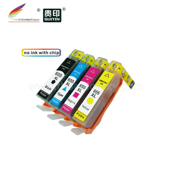 (RCH655-4) Empty 4 color refillable ink Cartridge For HP 655 HP655 Deskjet Ink Advantage 3525 4615 4625 5525 Printer 1 set image