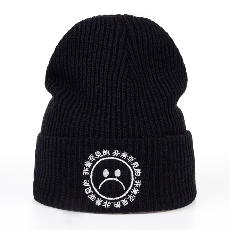 TUNICA 2017 Winter new boy warm hat fashion men and women hip hop crying face sad embroidered 100% cotton skullies