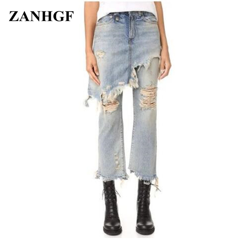 ФОТО Loose Harem Pants Vintage Jeans Bleached Ripped Washed Hole Woman Pockets Button Fly Ankle length Casual Jean P072