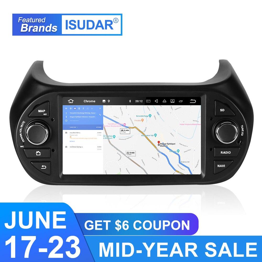 Isudar 2 Din Car Multimedia Player GPS Android 9 For FIAT/Fiorino/Qubo/Citroen/Nemo/Peugeot/Bipper Auto Radio Audio USB DVR DSP