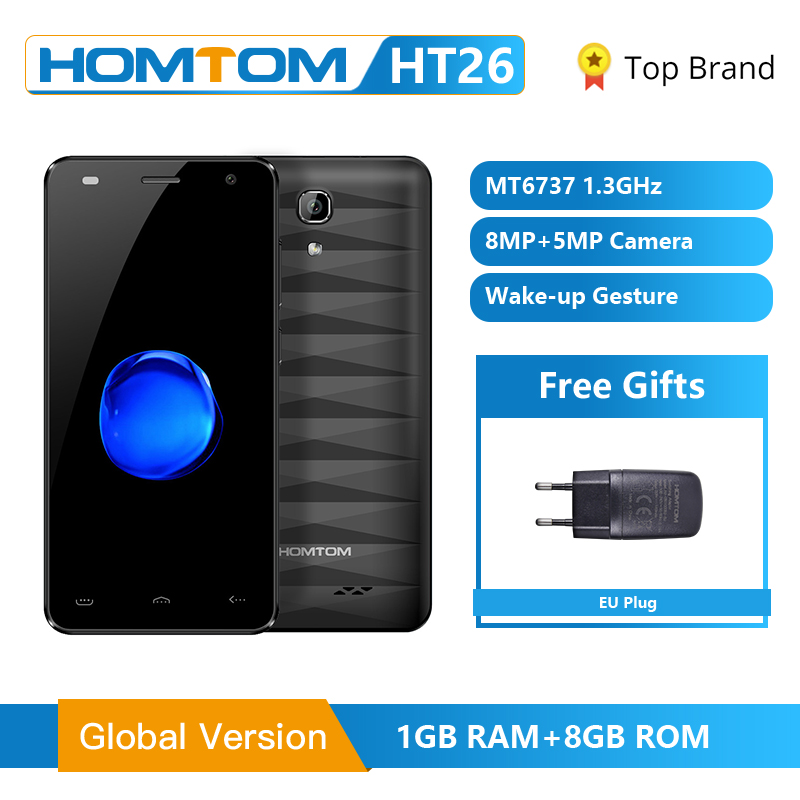 HOMTOM HT26 MTK6737 Quad Core Smartphone Android 7.0 4.5 Inch HD Screen Cell Phone 2300mAh 1GB RAM 8GB ROM Unlocked Mobile Phone