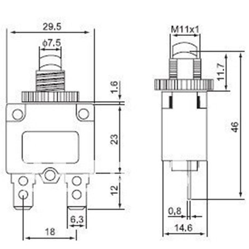 1 шт., Термовыключатель, защита от перегрузки по току 3A,4A,5A,6A ,7A, 7.5A ,8A,10A,15A,18A,20A,25A,30A