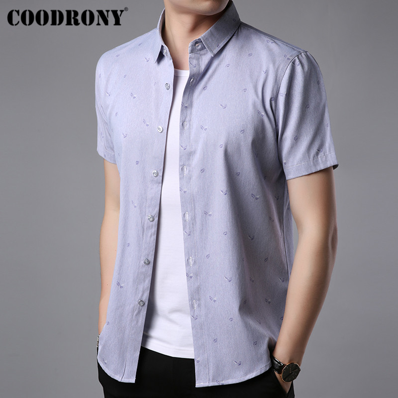 COODRONY Soft Cotton Short Sleeve Shirt Men Brand Clothing 2019 Summer New Social Business Casual Shirts Camisa Masculina S96042