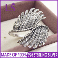 LS Hot Sale High Quality Real 925 Sterling Silver Majestic Feathers Ring For Women Compatible With
