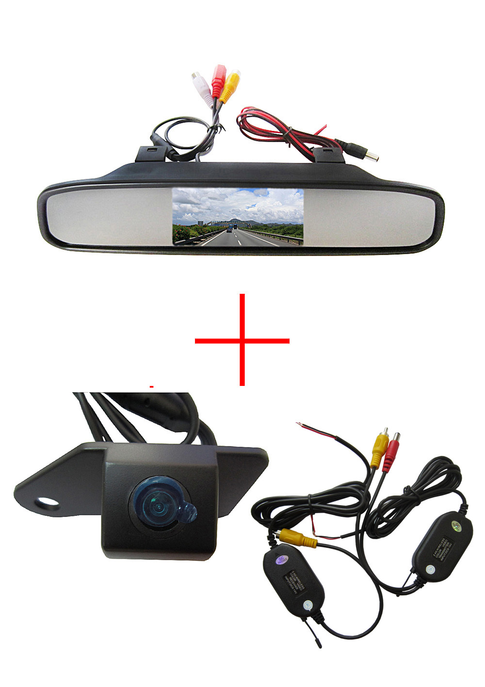 Wireless Color CCD Chip Car Rear View Camera for Mitsubishi ASX RVR/Outlander Sport + 4.3 Inch rear view Mirror Monitor wireless color ccd chip car rear view camera for kia sorento sportage 4 3 inch foldable lcd tft monitor