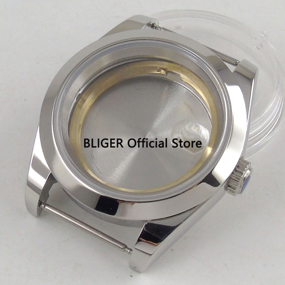 Solid 40mm Polished Sapphire Glass Stainless Steel Watch Case Fit For ETA 2824 2836 MIYOTA 8215 8205 Automatic Movement C54A цена