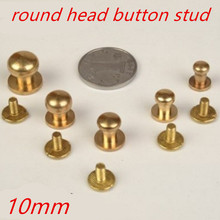 50pcs/lot 10mm Luggage Leather metal Craft Solid Screw Nail Rivet flank pacifier nail /strap Rivets Copper great quality