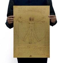 Leonardo Da Vinci рукопись витрувиан человек винтажная крафт-бумага фильм плакат школьный Декор Наклейки на стены Искусство DIY Ретро Декор принты