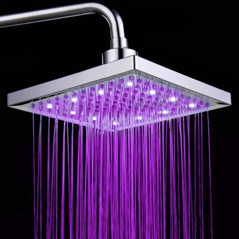 все цены на LED 7 Color Changing Rainfall Bathroom Shower Head Square Rainfall Top Shampoo Sprayer Shower Faucet For Home 8inch 20x20cm онлайн