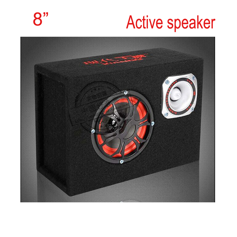 Новое поступление, 8 дюймов, 12 В, 220 В, автомобильная аудио акустическая Hifi Портативная активная Колонка 450 Вт, KTV Boom Box, сценические сабвуферы
