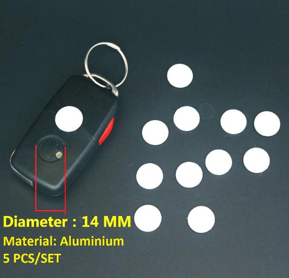 5pcs 14mm Key Sticker For Car VW Toyota Peugeot Benz Opel Audi Ford Honda Mazda Hyundai KIA Fob Emblem Badge Radio Button(China)