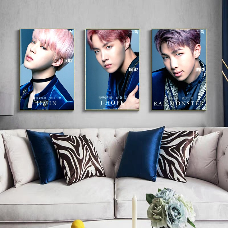 BTS hd white photo paper printing fashion buy three get four single character image group 2 bts taehyung warriors