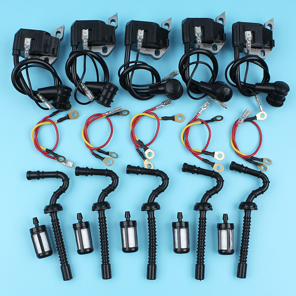 5 x Ignition Coil & Fuel Line & Fuel Filter Kits For STIHL 021 023 025 MS210 MS230 MS250 Chainsaw Replacement Parts цена