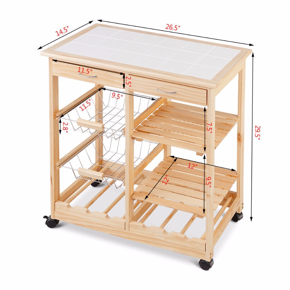Goplus Rolling Wood Kitchen Trolley Cart Island Shelf w/ Storage Drawers Baskets New HW58491NA 8