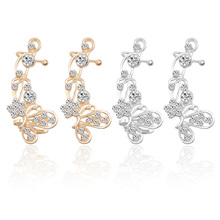 1 piece Fashion Hollow Animal Earrings Ear Clip Ladies Gold Silver Crystal Flower Butterfly Stud