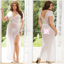 Brand New Sexy Lingerie sexy costumes slips Big Size Vestidos Hot Sleepwear Lace Sexy Long Dress+G string Erotic Lingerie