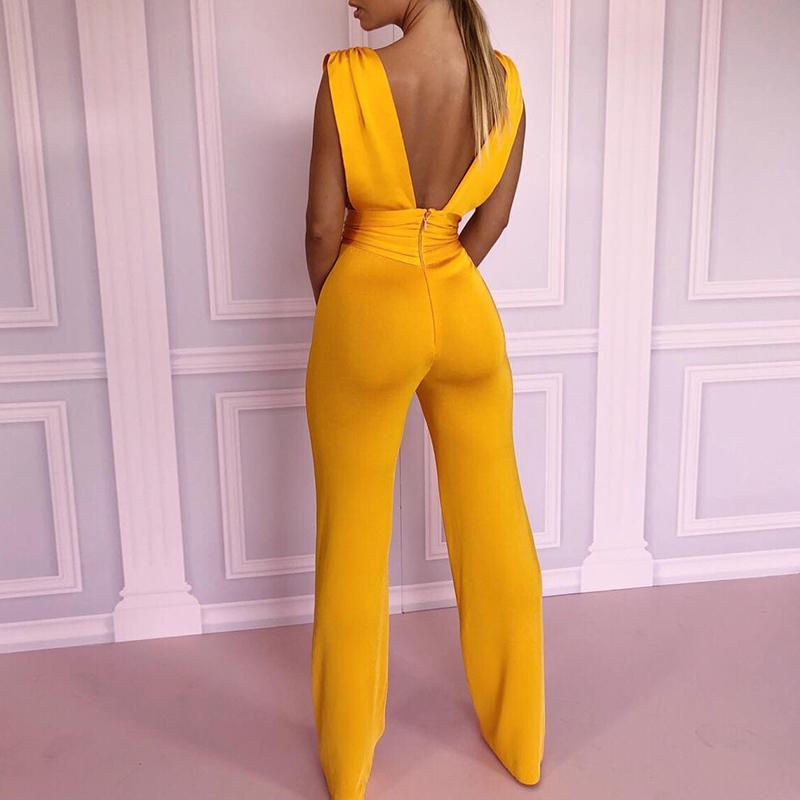 2018 Trendy New Fashion Summer Women Yellow Skinny Sexy Overalls Solid Double V Ruched Waist Sleeveless Jumpsuit