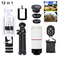 Phone Lentes Kit 8X Zoom Telephoto Lens Tripod Holder Fish eye Wide Angle Macro Lenses Microscope For iPhone 7 6 5 Samsung S6 S7