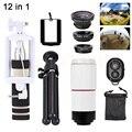 Teléfono Kit de Lentes 8X Zoom Teleobjetivo Trípode Titular de ojo de Pez de Ancho ángulo macro lentes de microscopio para iphone 7 6 5 samsung s6 s7