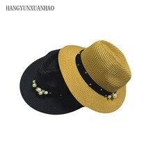 Flower Beads Summer Sun Straw Hats For Women Rivet Pearl Wide Brimmed Jazz Panama Hat Chapeu Feminino Sun Visor Beach Hat все цены