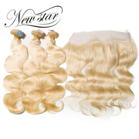 New Star 613 Blonde Body Wave 3 Bundles With Frontal Brazilian Free Part Remy Human Weave Hair Extension