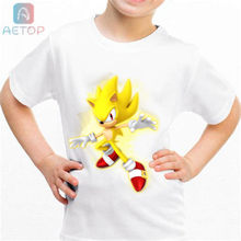 2018 HOT sonic lww01 Kingdom Funny T-shirt Kids Baby Summer Cute Clothes Boys Girls Tops sonic T shirt(China)