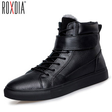 ROXDIA first level leather mens boots autumn winter for men casual boot male ankle shoes black brown plus size 39-47 RXM054