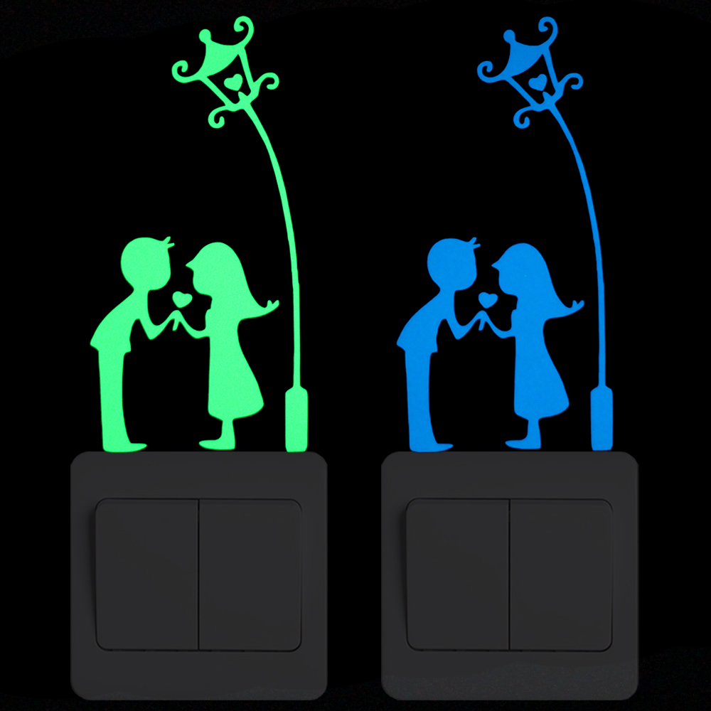 Courtship-Under-the-Lamp-Luminous-Switch-Decoration-Sticker-Romantic-Wall-Decor-Decals-Boys-Girls-Room-DIY
