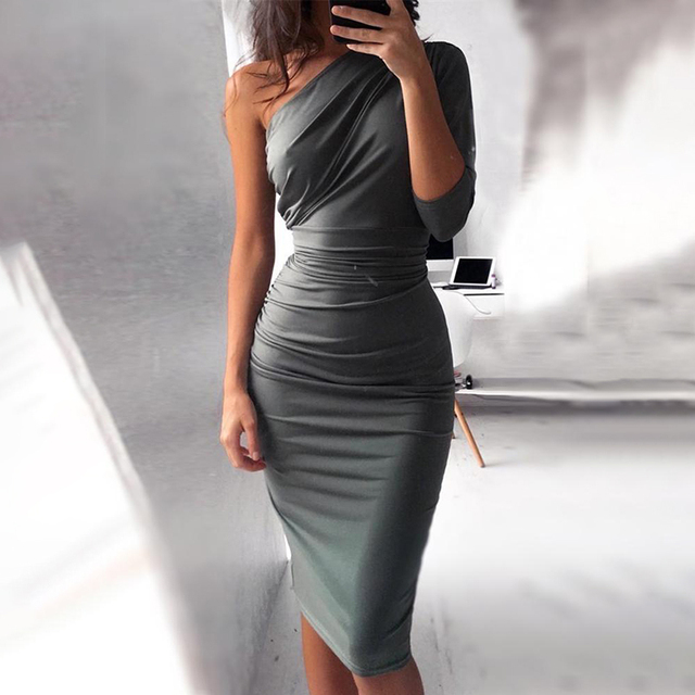 2018 Summer Fashion Women Casual Elegant Party Dress Female Formal Solid Color One Shoulder Scrunch Self-Belted Bodycon Dress