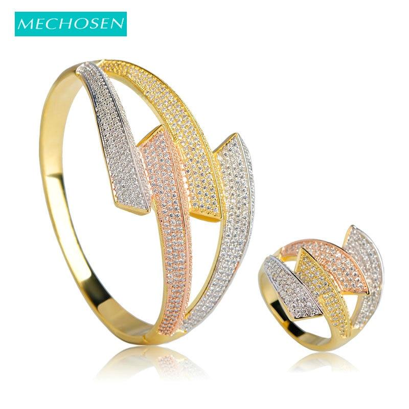 MECHOSEN Luxury Copper Women Wedding Jewelry Sets Rhinestone Big Bangles  Ring Set Prong Setting Zirconia Ring 188c8fb4686c
