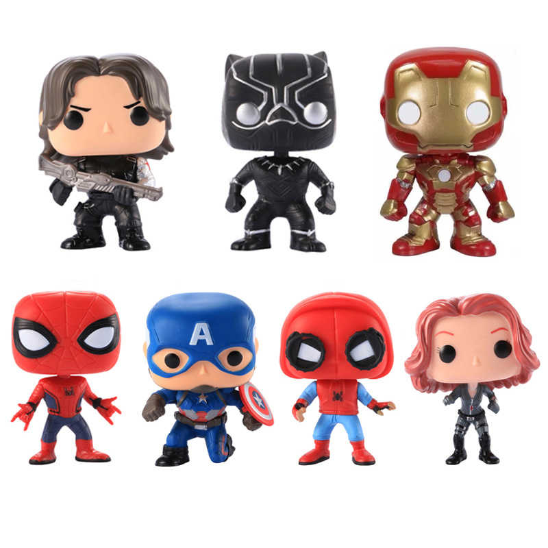 FUNKO POP Marvels Avengers 3 Super Hero Iron Man Action Figure Toys Captain America 3 Civil War Black Widow Panther Model