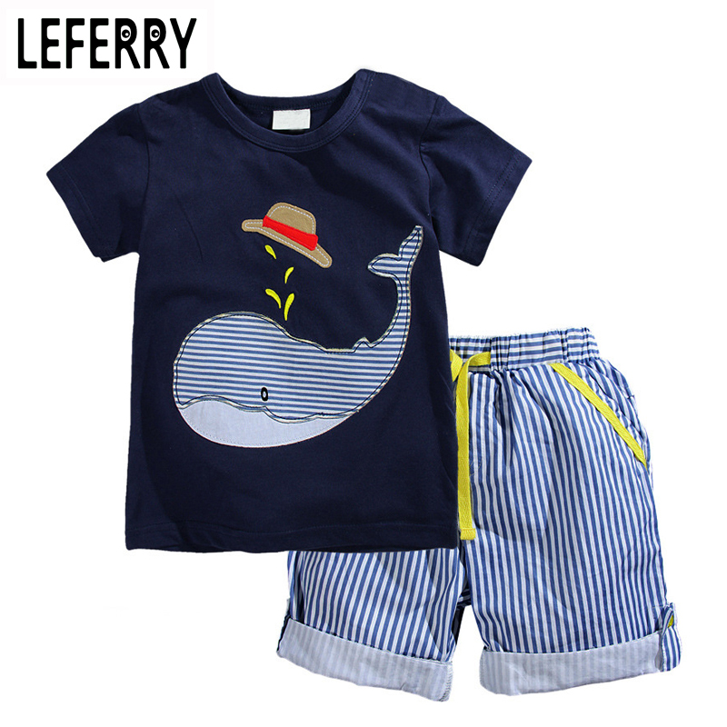 2018 New Summer Kids Clothes Children Clothing Baby Boy Clothes Set Toddler Baby Boys Clothing Set Cotton Knitted Striped Shorts