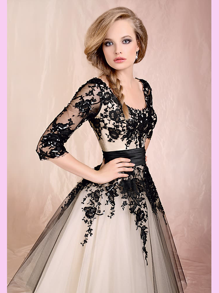 Black Ankle Length Scoop Neckline Lace Tulle Short Wedding Dresses ...