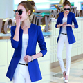 2017 Solid V-neck Cotton Full-sleeve Jaqueta Feminina Blazer Feminino Women Suit Veste Femme Manche Longue