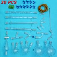 30PCS 24/40 Laboratory Chemistry Borosilicate Distillation Glassware Kit School Lab Supply Glass Flask Adapter Hose Connection
