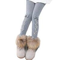 New Baby Girls Winter Velvet Warm Thick Leggings Full Length Pant Kids Lace Bow Princess Elastic