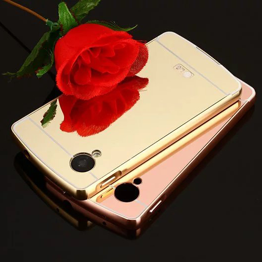 Luxury Mirror effect Hybrid case fo LG NEXUS 5 hard gold Metal Aluminum frame Protective back cover For LG NEXUS5 phone shell