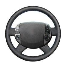 Handsewing preto plutônio couro artificial volante do carro cobre envoltório para toyota prius 20 (xw20) 2003-2009 raum 2 2003-2011
