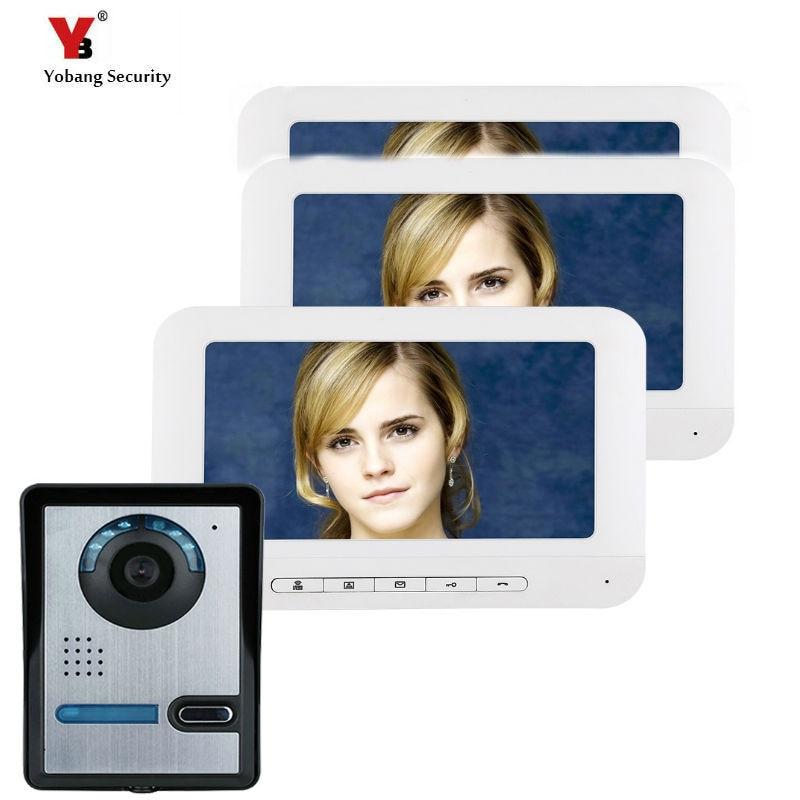 Yobang Security  Video Intercom 3*7 Inch LCD Video Doorbell Door Phone Camera Monitor System Kit Access Control Night Vision