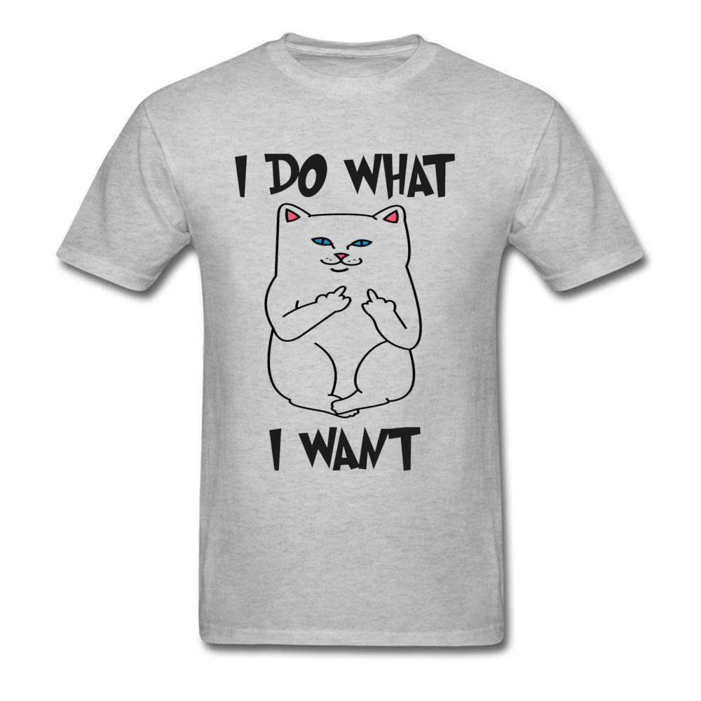 Confidently Cat Kawaii Design Cotton T-shirts for Men I Do What I Want Love Day Round Collar Cartoon Printed New Tshirt Boy image
