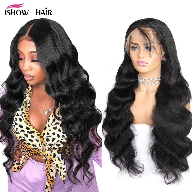 Ishow Body Wave Lace Front Human Hair Wigs For Women Pre Plucked Hairline With Baby Hair