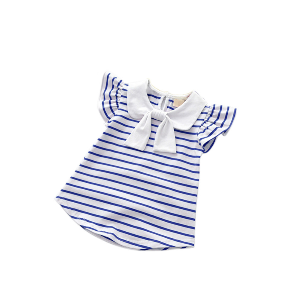 2017 Lovely Baby Girls Dresses Summer Cotton Casual Striped Dress Girl Clothes Fashion Children Clothing 2-5Y fashion kids baby girl dress clothes grey sweater top with dresses costume cotton children clothing girls set 2 pcs 2 7 years