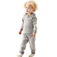 New Baby Girl Autumn Knitted Set Toddler Boy Striped Hooded Sweater+Elastic Waist Pants Warm Sport Suit 12M 3Y Kids Clothes Sets