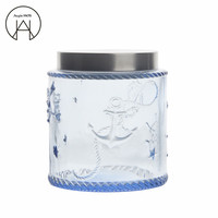 Embossed Transparent Glass Tea Caddy Blue Storage tank Coffee Beans Sealed Jar Storage Bottle Food Container Candy Jar vase