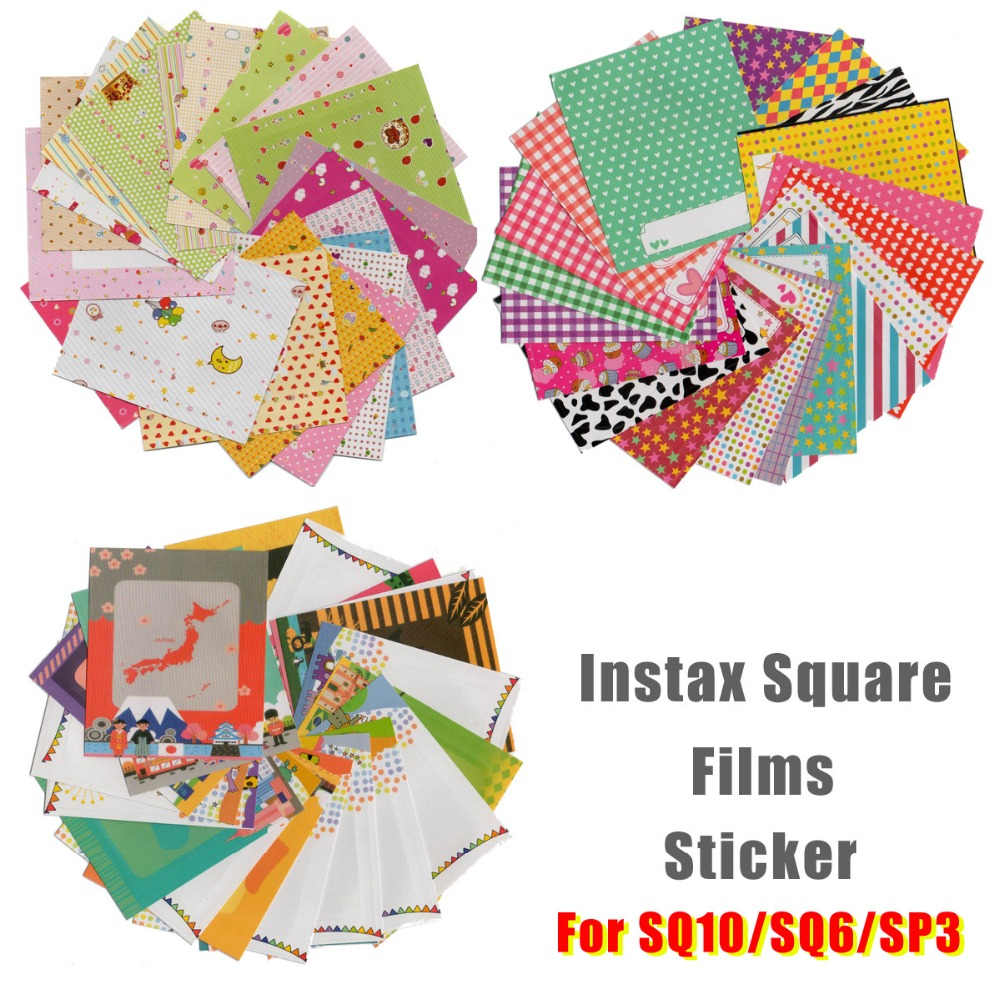 60x Films Cute Dot Message Memo Happyeveryday Carton Photo Stickers For Instax Square SQ20 SQ10 SQ6 SP3 Films DIY Diary