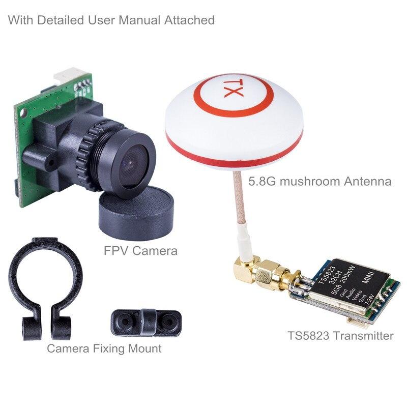ФОТО FPV Image Transceiver Kit with 700TVL HD Camera+200mW Mini TS5823 32 Channel AV Transmitter&5.8G Mushroom Antenna for Quadcopter