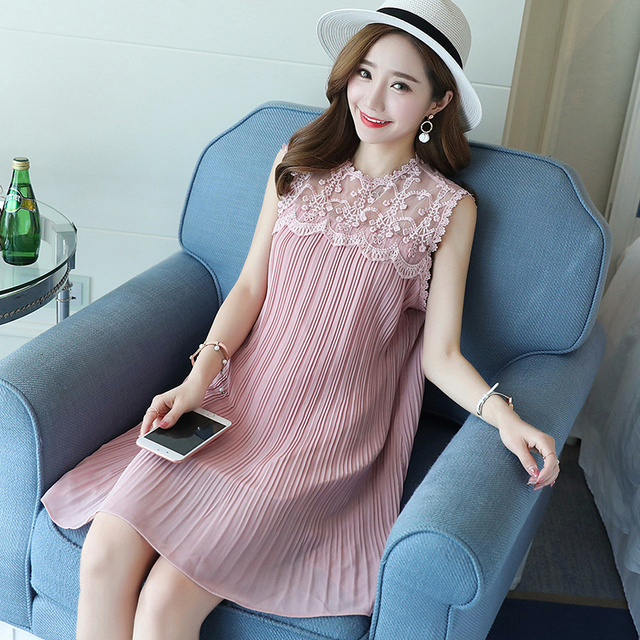 4f6839ef83f00 Maternity Clothes summer Loose Patchwork Design Pleated Sleeveless Chiffon  Stylish Dress for Pregnant Women Pregnancy Clothes